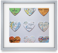 Your favourite locations, sourced and carefully extracted and cut into a heart. They are then mounted upon card to create a striking piece of artwork.